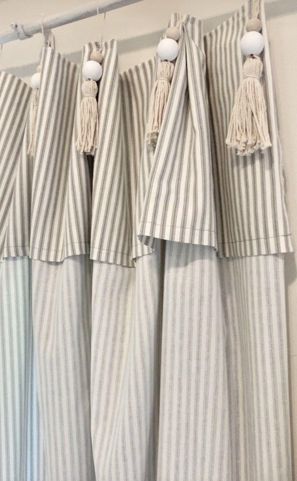 Diy Pottery Barn Inspired Tassel Ticking Stripe Curtains Ticking Stripe Curtains Pottery Barn Curtains Diy Pottery