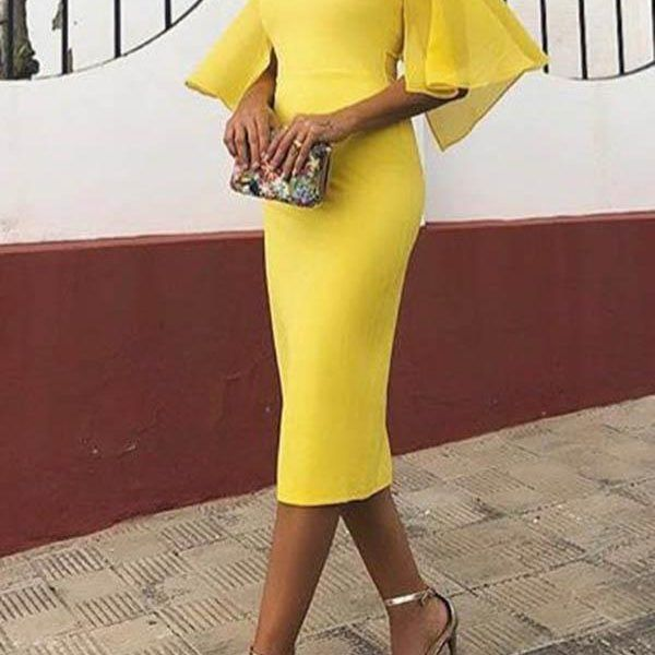 Elegant backless short sleeve bodycon mini dress