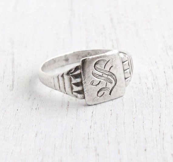 Vintage Sterling Silver Letter S Signet Ring Antique Size 7 34