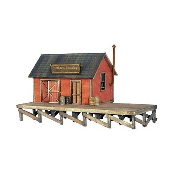 Banta Modelworks Herbert's Crossing Freight House Kit - O ... on railroad engine house, railroad freight yards, railroad freight cart, railroad freight sidings, railroad weigh scale house, railroad container house,