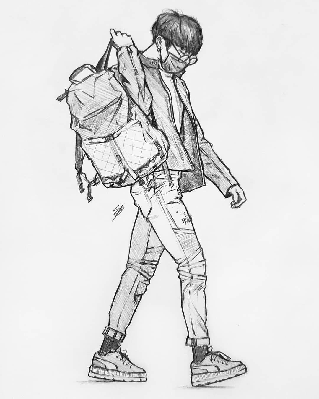 """Photo of • Nikki • on Instagram: """"?♂️??♂️#bts #btsfanart #fanart #jungkook #art #drawing #sketch #kpop"""""""