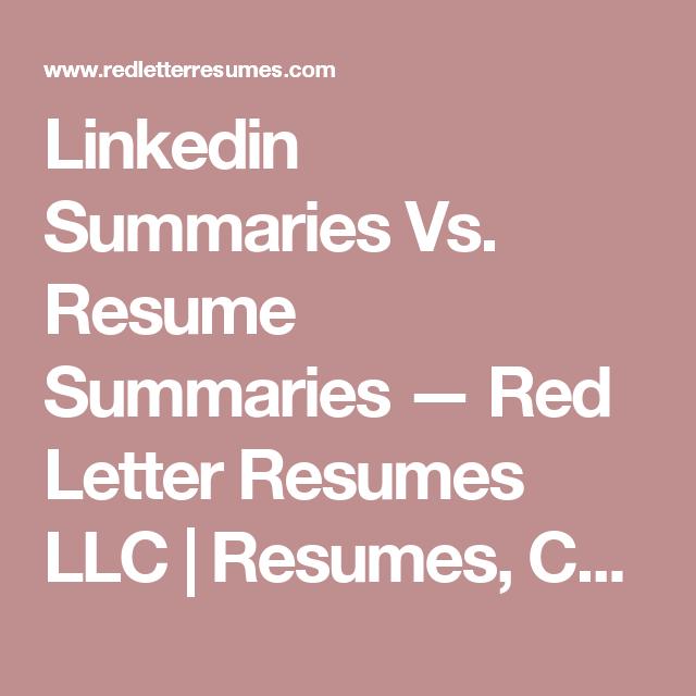 Linkedin Summaries Vs Resume Summaries  Linkedin Summary Job Cv