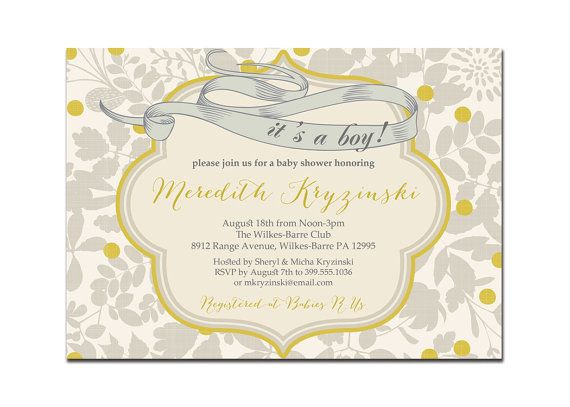 {Meredith} Its A Boy Baby Shower Invitation Vintage Gray by digibuddhaPaperie, $18.00  https://www.etsy.com/listing/100104446/its-a-boy-baby-shower-invitation-vintage