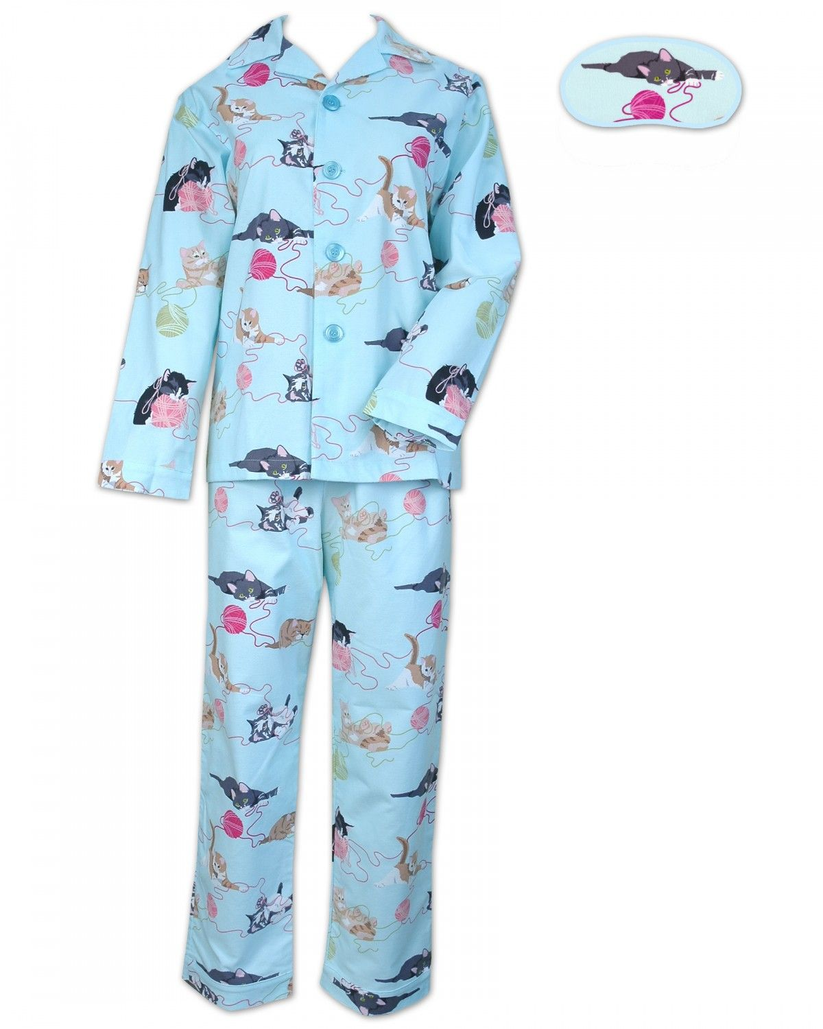 Men's Cat Pajamas | Blue Here Kitty Kitty Flannel Pajama | Одежда ...