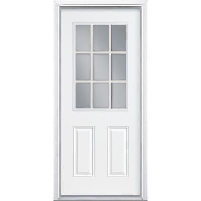 Back Basement Garage Entry Door Masonite 9 Lite Internal Grille Primed Smooth Fiberglass Entry Door With Steel Entry Doors Entry Doors Fiberglass Entry Doors