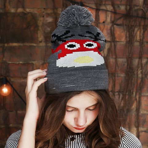 ca4dc2f192f Cute cow beanie hats with ball on top red knit bobble hats for teenage girls