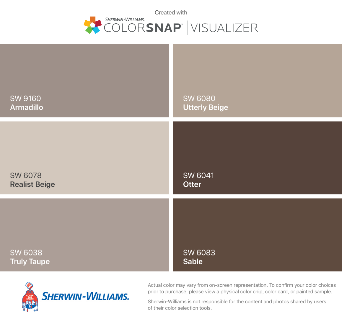 I Found These Colors With Colorsnap Visualizer For Iphone By Sherwin Williams Armadillo Sw 9160 Realist Beige 6078 Truly Taupe 6038