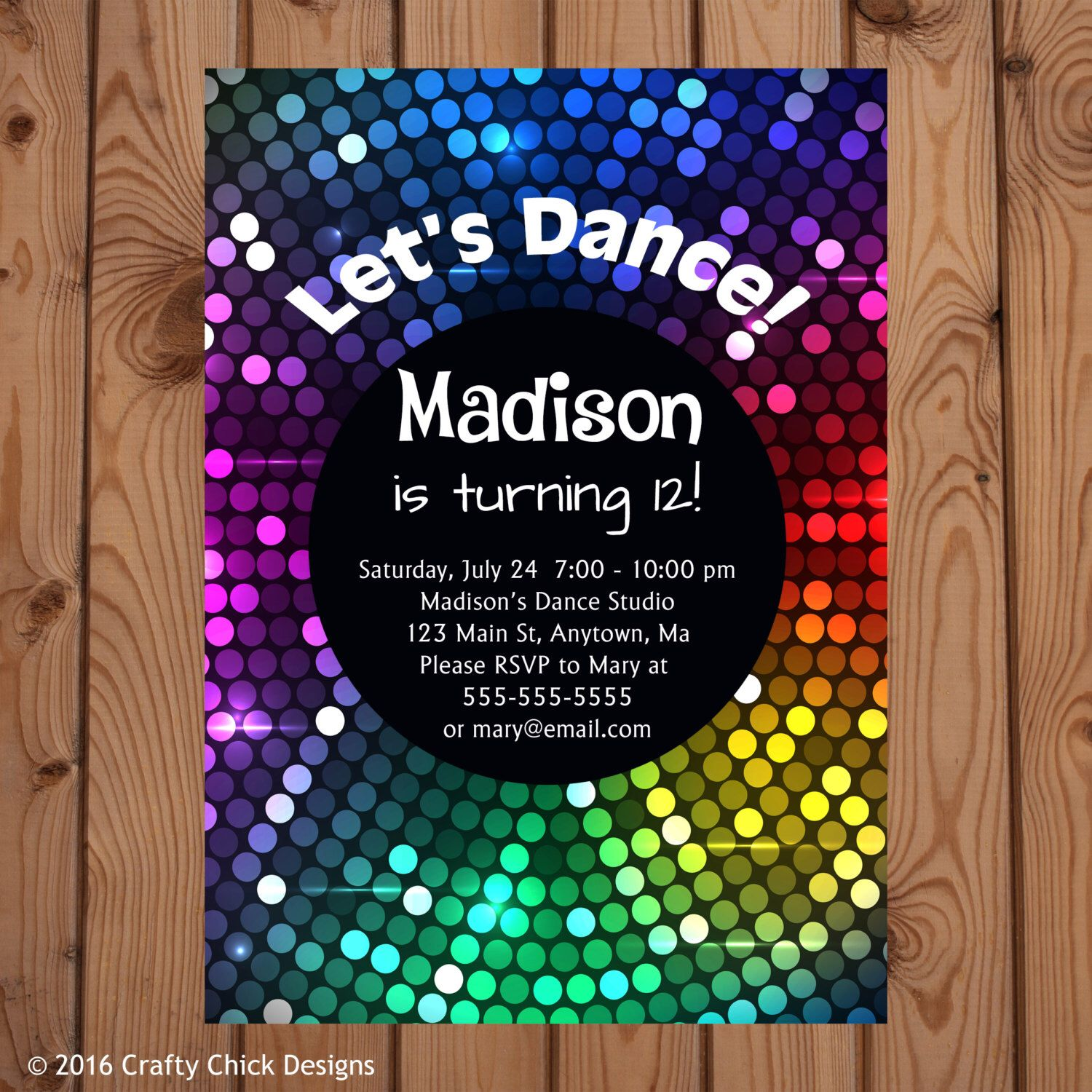 Dance Party Invitations - Dance Birthday Invitation - Disco Party ...
