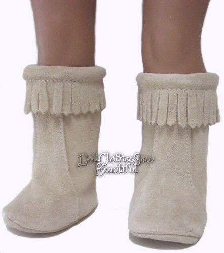 """For 18/"""" American Girl Doll Clothes Brown Moccasin Boots Fringe Shoes"""