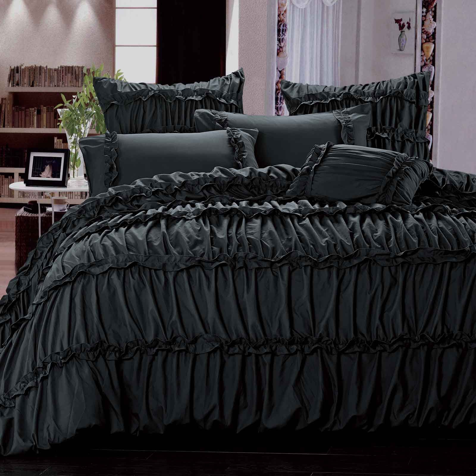 Black and purple bed sheets - Ruffle Bedding Shabby Chic Set Modern Bedding Designs
