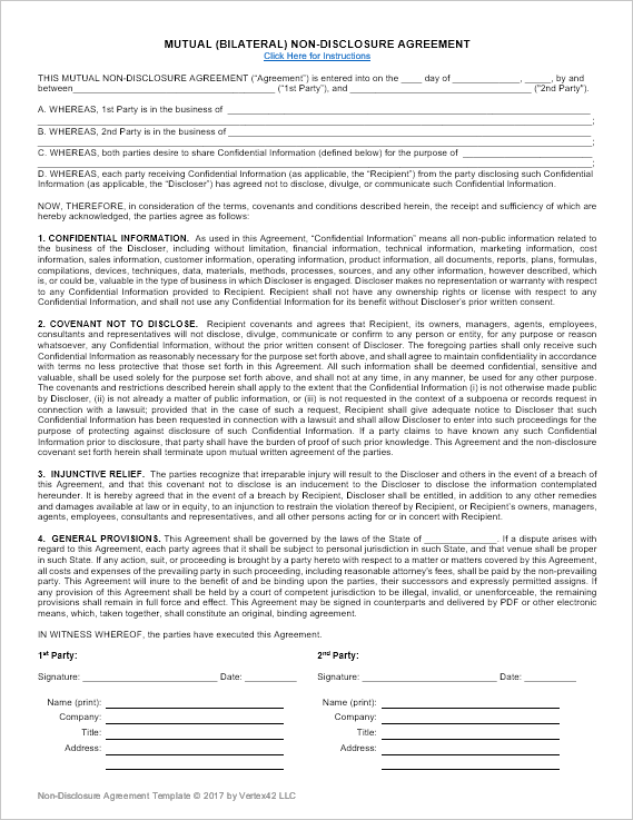 Download a free NonDisclosure Agreement NDA or confidentiality – Non Disclosure Agreement Word Document