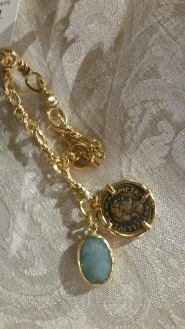Bracelet made with reproduction Roman coin and Quartz stone