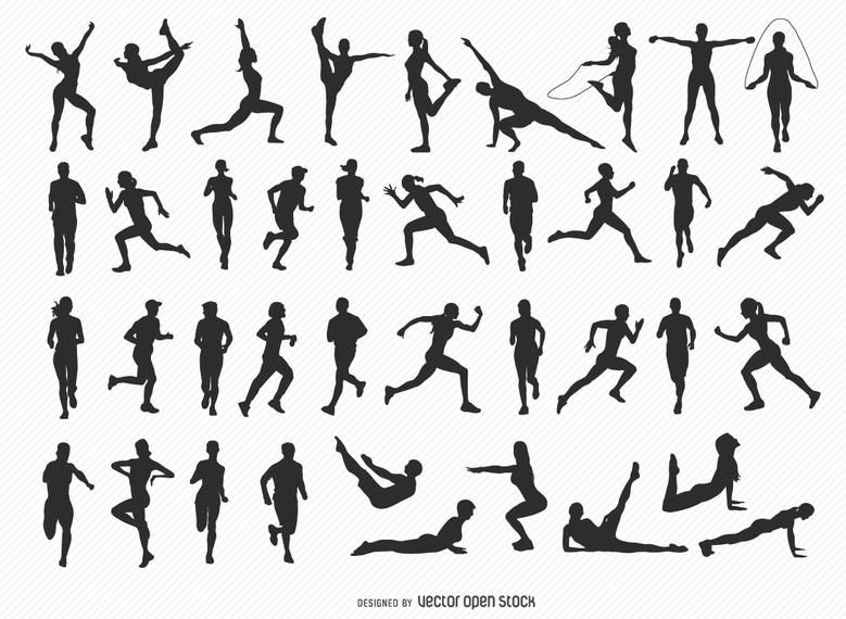 Set Of 30 Male And Female Fitness And Gym Silhouettes In Different Positions High Quality Jpg Included Under Commons 4 0 Fitness Silhouette Business Cartoons