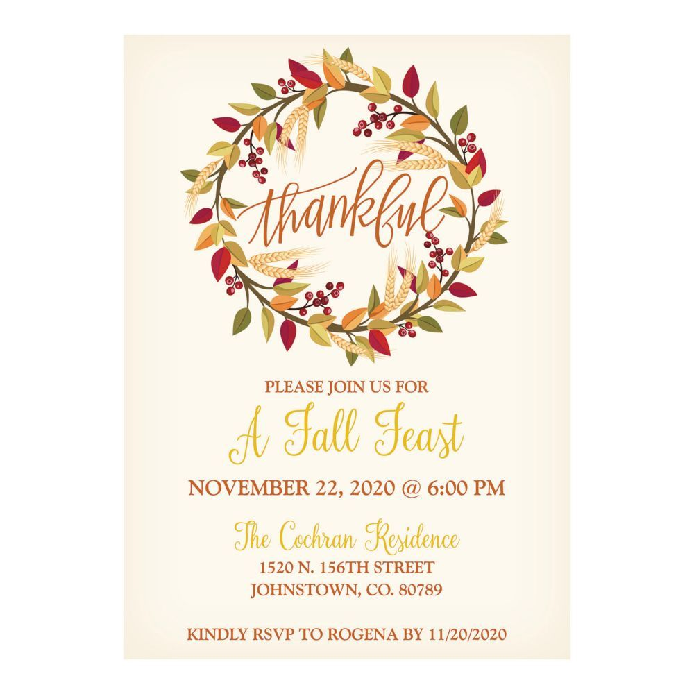 Personalized Thanksgiving Party Invitations