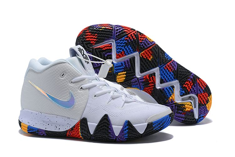 "6d1dde77319d 2018 Nike Kyrie 4 NCAA ""March Madness"" White Multi-Color Sneakers in ..."