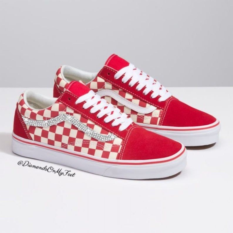 c7a4c541c9183 Swarovski Women's Vans Old Skool Red Checkered Low Top Shoes ...