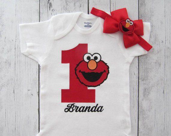 4d98ec40f Elmo 1 First Birthday Onesie for Girl - one year old birthday, elmo 1 shirt,  with name, elmo 1 onesi