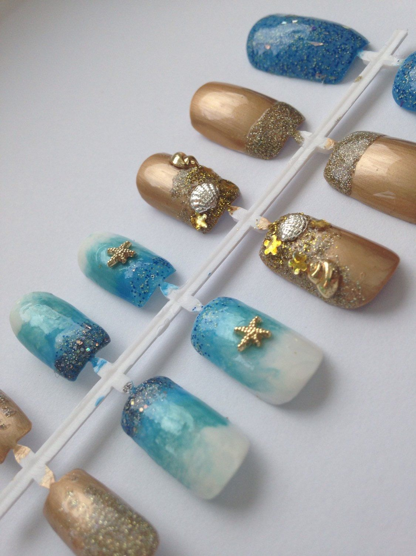 Ocean False Nails, Sea Shells 3D Nail Art, Fake Nails, Beach Kawaii ...