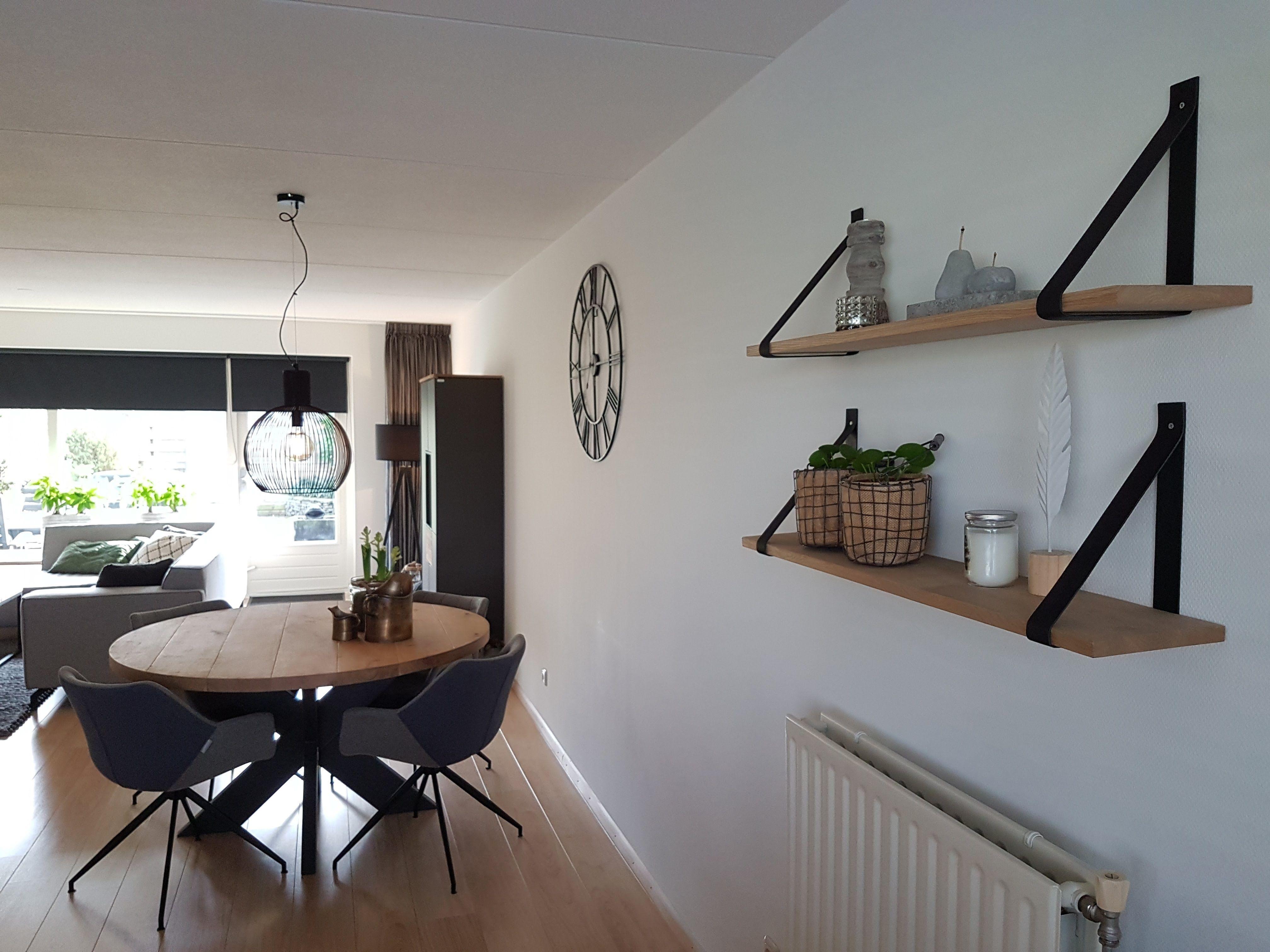 Wanddecoratie wandplankjes met leren plankdragers huisinrichting