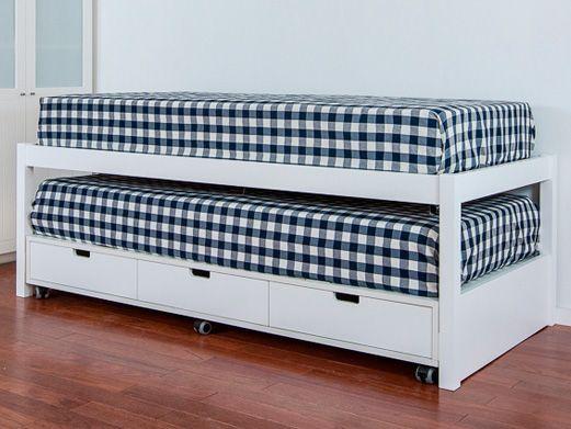 Cama compacta con tres cajones y cama nido fabricada en madera ...