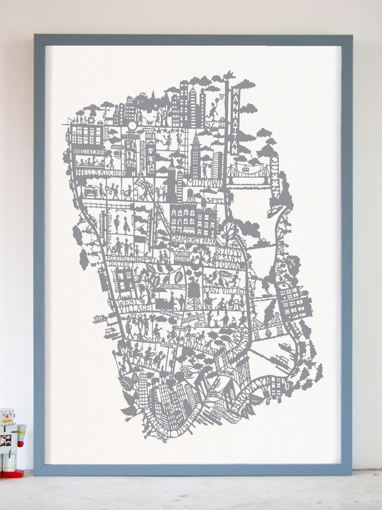 MAPPRINT BY FAMILLE SUMMERBELLE - NEW YORK SILVER
