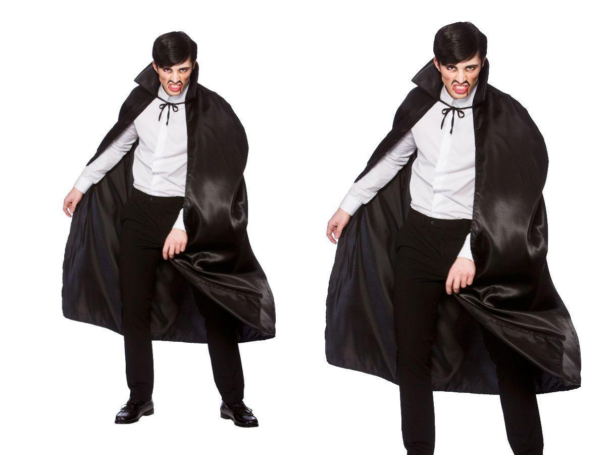 Deluxe satin black cape mens vampire cape halloween fancy dress