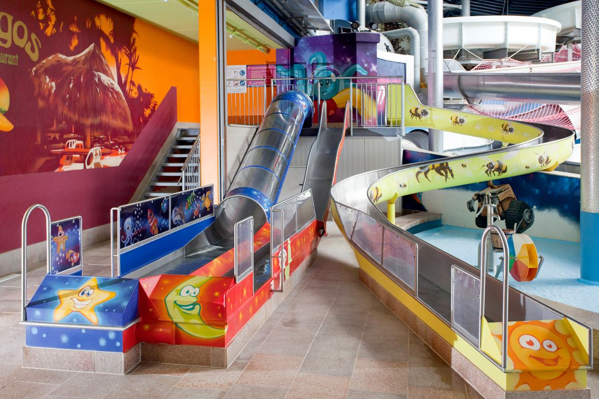 Just outside Munich - kids slides at Therme Erding ...