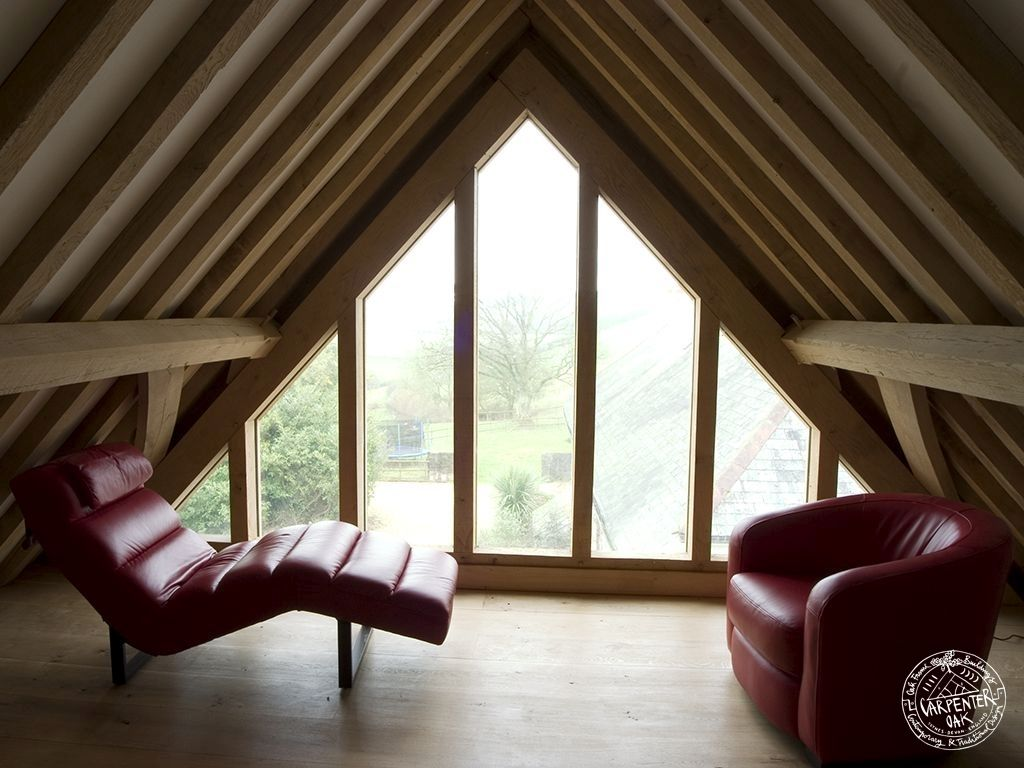 Timber frame loft conversion with glazed gable end by Carpenter Oak ...