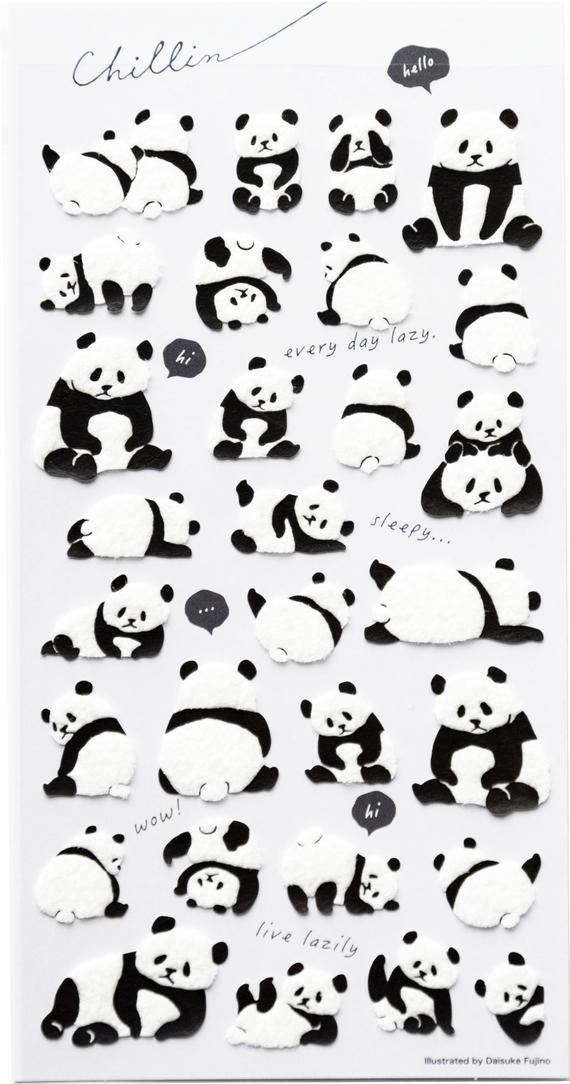Photo of Fluffy panda sticker / Japanese sticker for planner, scrapbooking, journal, snail mail / made in Jap