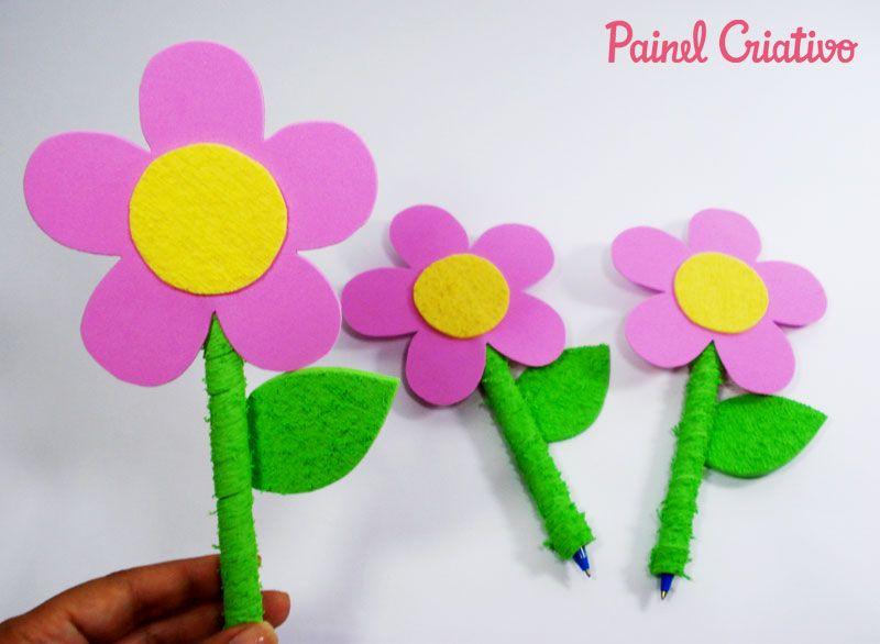 Modelo lembrancinha dia dos professores, dia das mães em EVA flor caneta