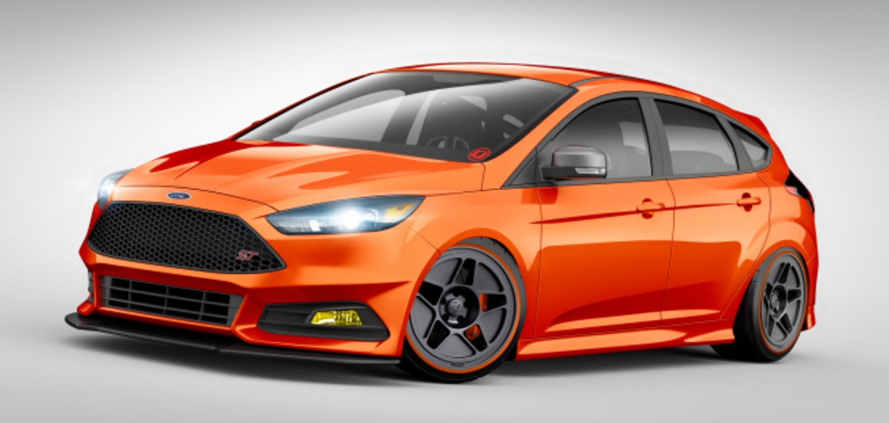 At Sema 2015 There Was An Orange Focus St Done Up By Cj Pony Parts Which Has Upgraded The Engine Fitted An Air Suspension Ford Focus St Ford Focus Hot Hatch