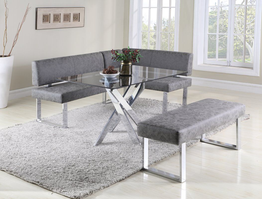 Cassian Faux Leather Corner Bench Black Dining Room Furniture Dining Nook Dining Set With Bench