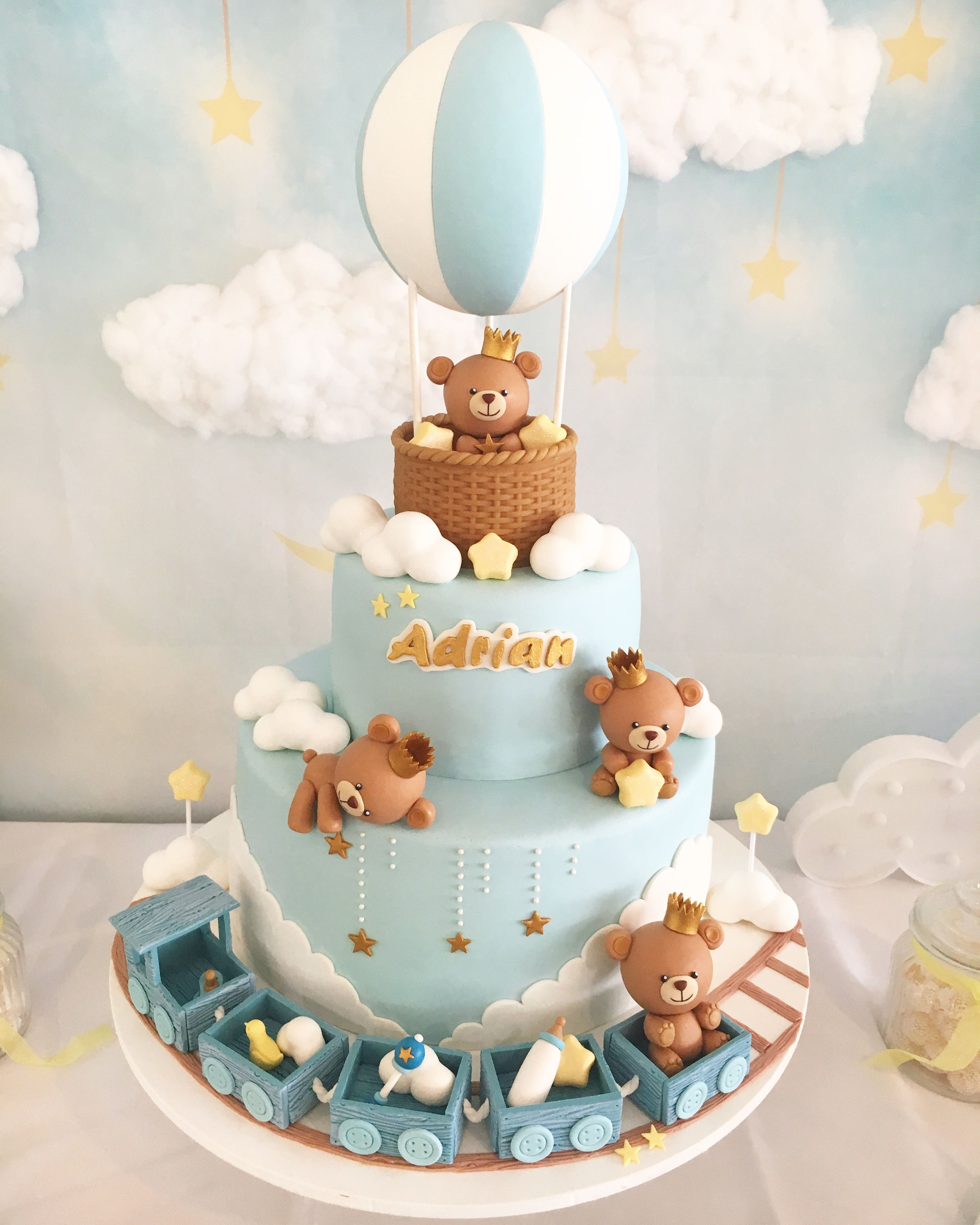 Baby Boy Teddy Bears Cake For Baby Showers Baptisms With Images