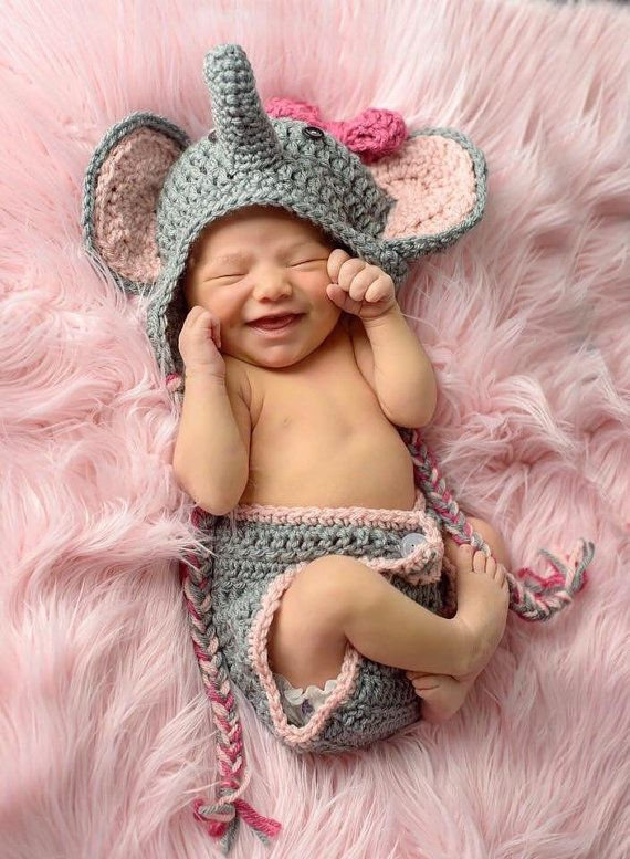 Elephant Outfit Photo Prop 2 Piece Newborn Set by BSMinspired  998e3adee3ff