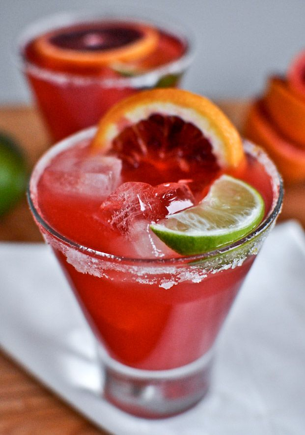Blood Orange Margarita! May have to try these this week since I have some blood oranges sitting around :)