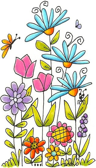 Flower drawing clipart patterns colored paintpatterns