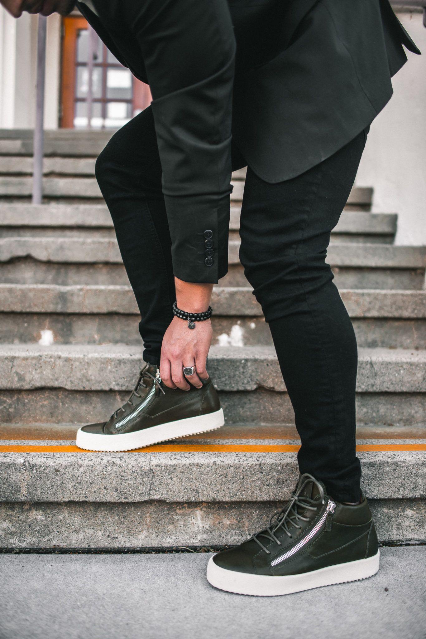 340f514461e Men s Black Blazer and High Top Sneakers Outfit Idea  GiuseppeZanotti   sneakers