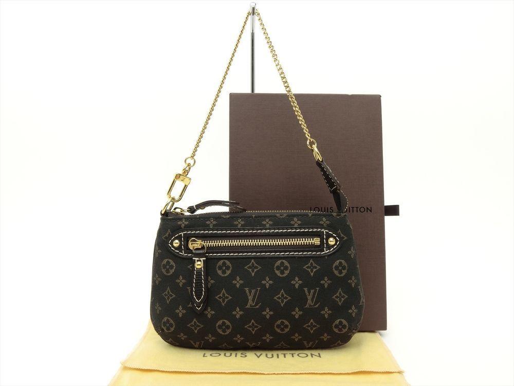 Louis Vuitton Auth Monogram Idylle Fusain Mini Pochette Accessoires POUCH Bag LV #LouisVuitton #CosmeticBags