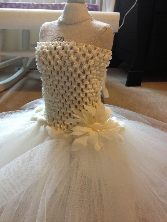 ivory flower girl dress tutu tulle dress 612 by AnaBeanDesigns, $20.00 One girl wears a pink undershirt and the other blue!!