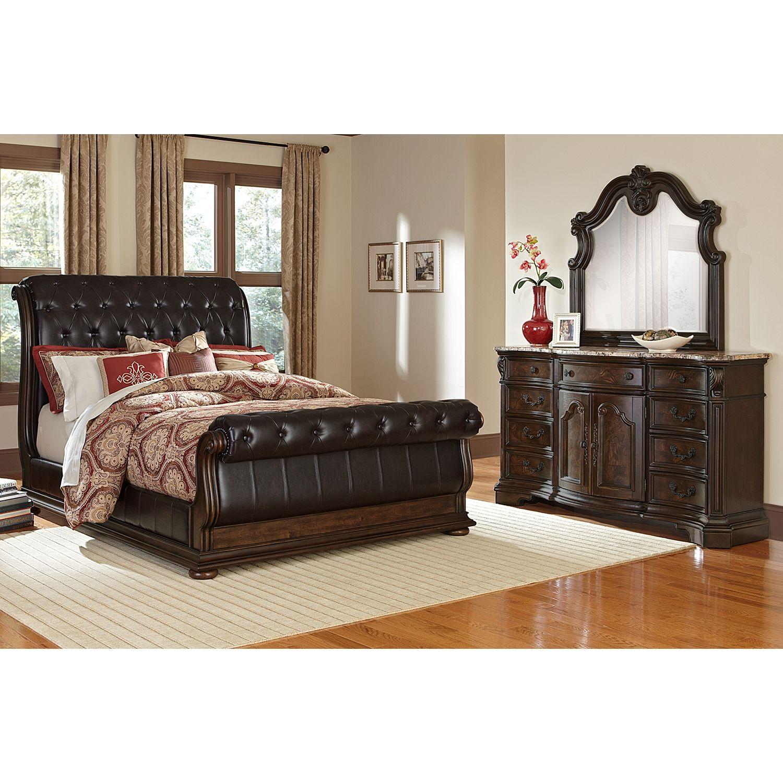 bedroom furniture-lafayette ii pecan 5 pc. queen bedroom | beds