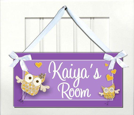 personalized sweet yellow owls in love door sign - kids babies
