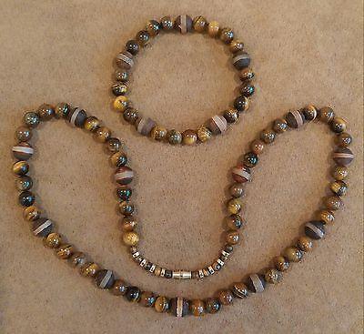 Men's Elegant Tiger's Eye w/ Tibetan Agate Beaded Necklace Bracelet Set