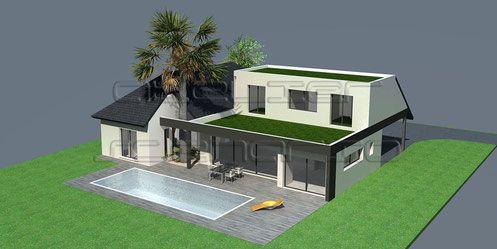 Maison contemporaine à toiture ardoises et toit terrasse ...