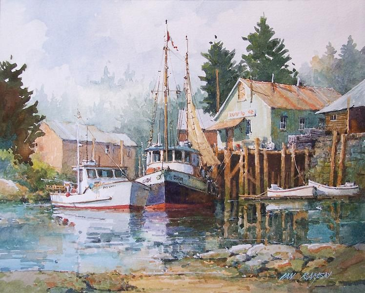 Ian ramsay boat dock near bay harbor maine art for Oil painting lessons near me