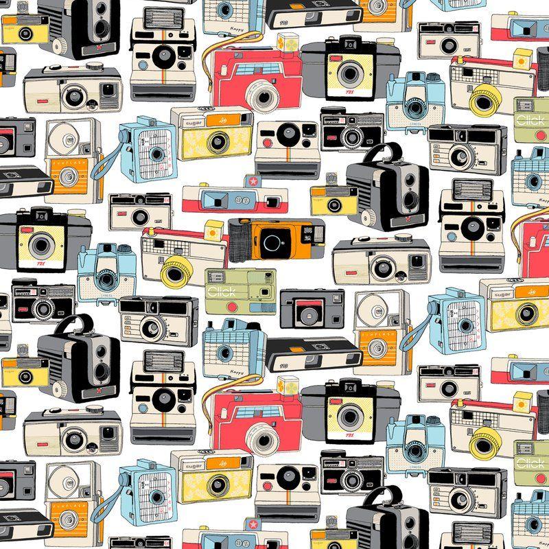 Vintage Camera Fabric Wallpaper Gift Wrap