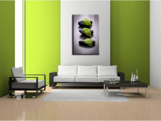Tableau déco moderne zen galets et feuille verte