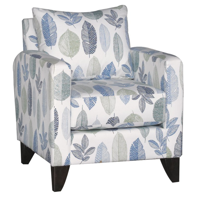 Contemporary Blue And White Leaf Accent Chair Bryn Furniture