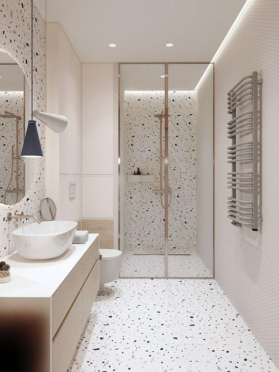 How Fun Is This Bathroom Design With Gold Hardware And Modern