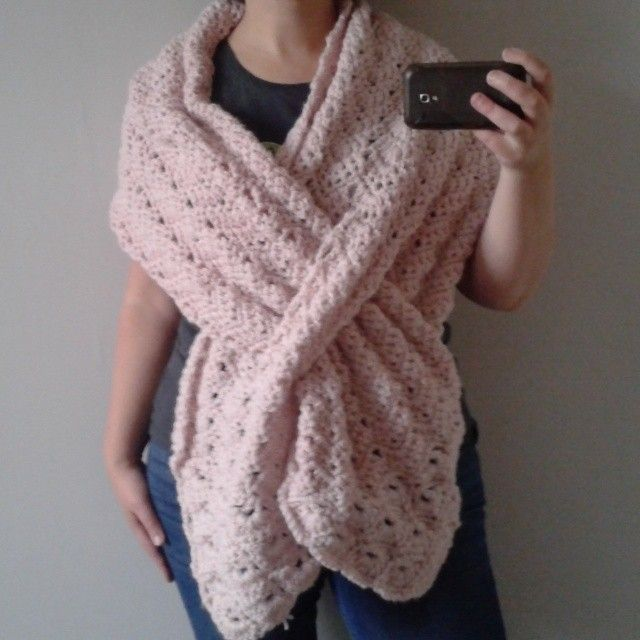 Crochet wrap with slit. Free styled using this pattern as example ...