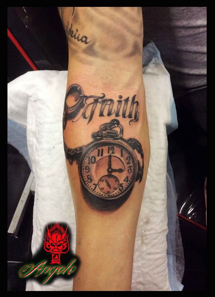 Clock tattoo Done by Angelo @ Rising Dragon Tattoo Fourways, Johannesburg. joburgink@gmail.com, 0114677350